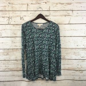 Michael Kors Green Floral Long Sleeve Top NEW $68